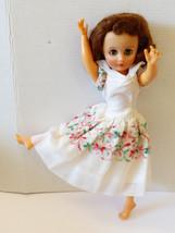 "Vintage Plastic Vinyl Sleepy Brown Eyes Doll Dancer 17.5"" white floral d... - $34.65"