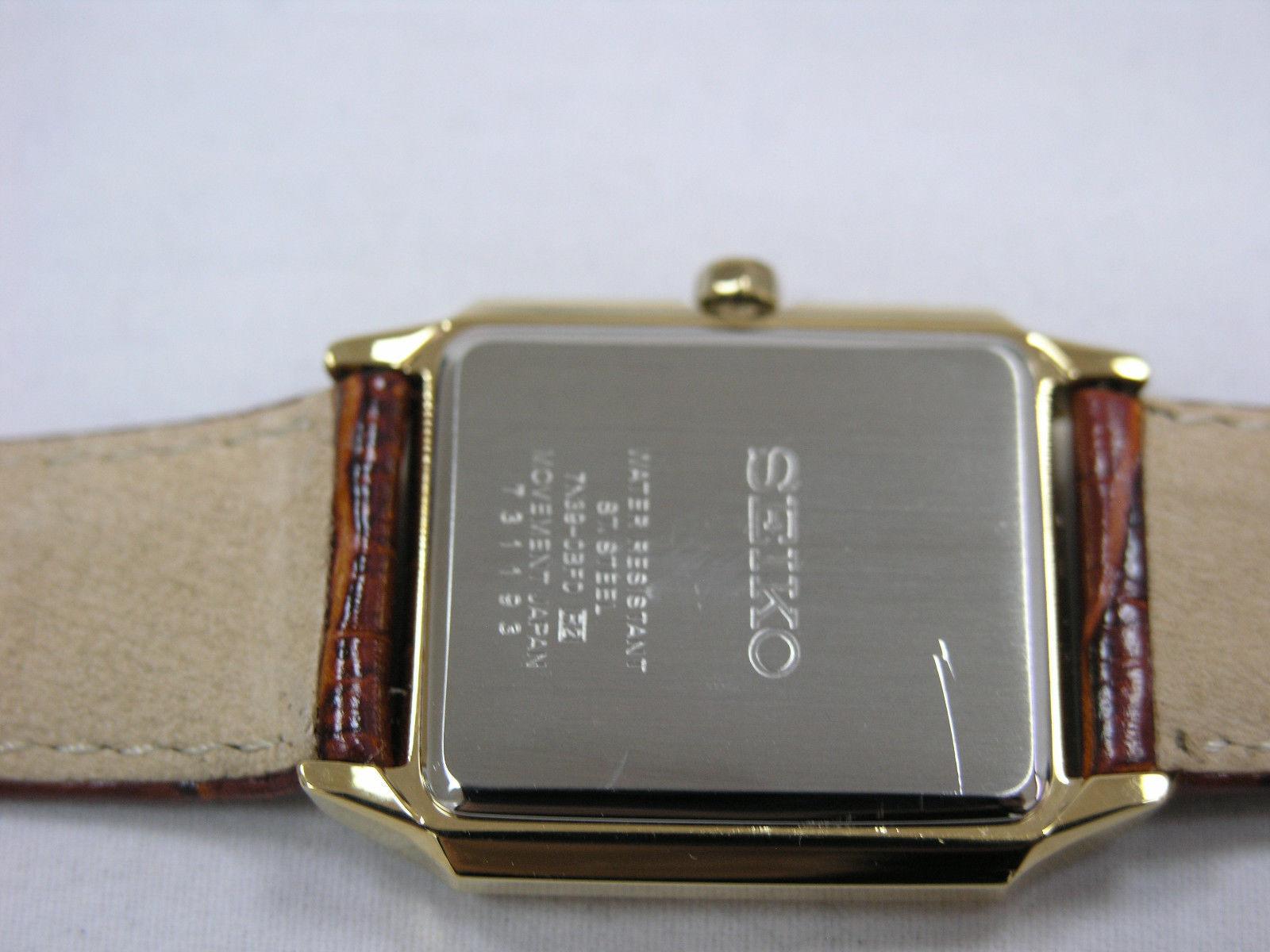 Seiko watches light brown bracelet gold tone square case vintage SKP304P1