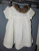 Janie & Jack Off White Velvet Faux Fur Collar Neck Dress Size 3/6 Months... - $21.60