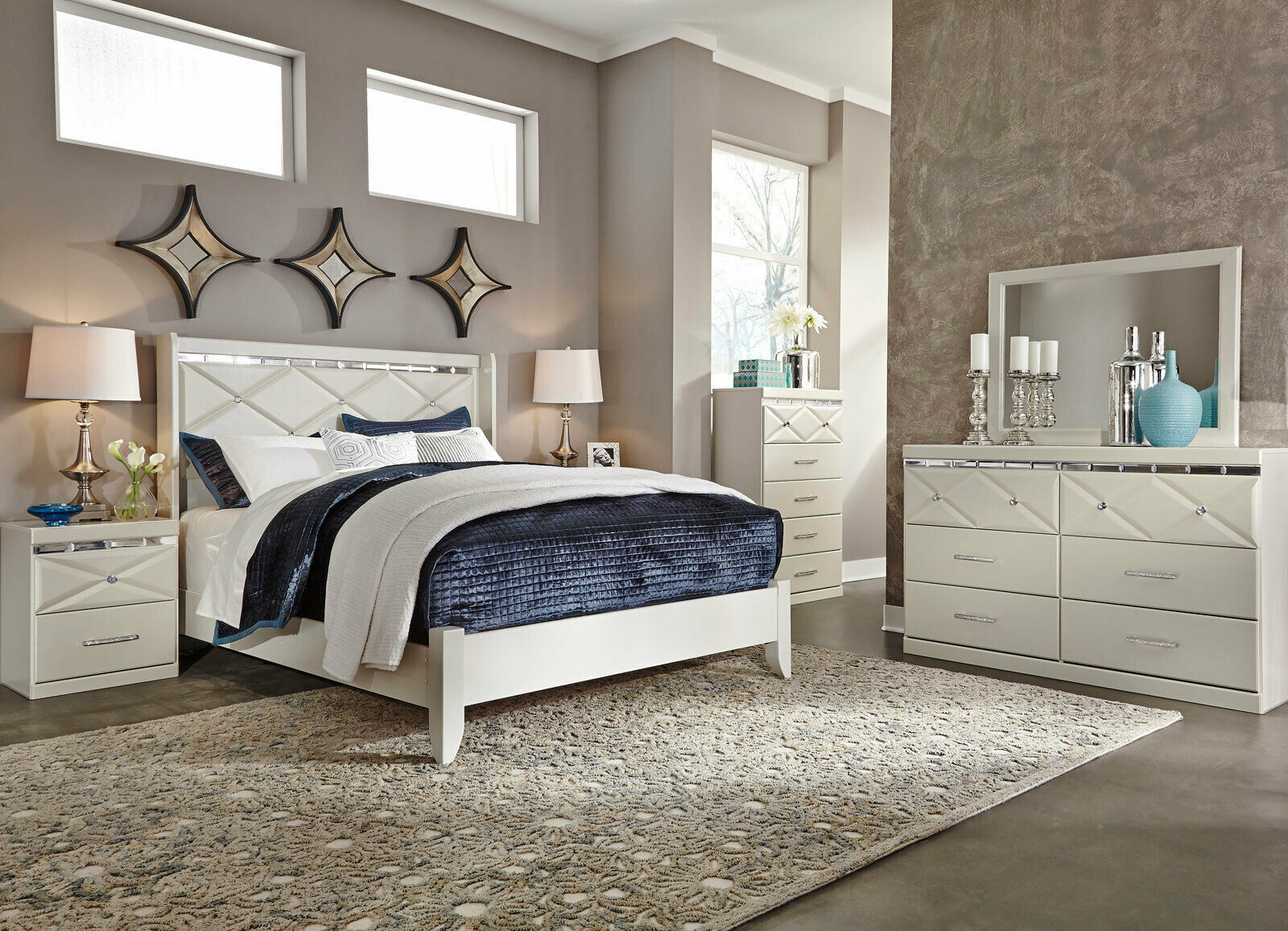 myra 5 pieces modern white bedroom set with king bed