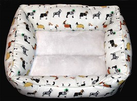 Halloween Bulldogs Costumes Skeleton Plush Padded Sides Bottom Dog Bed NWT - $39.99