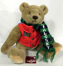 "Vintage Teddy Bear Jointed 1982 Gund Bialosky ""Save the Bears"" 18"" Red Vest - $21.77"