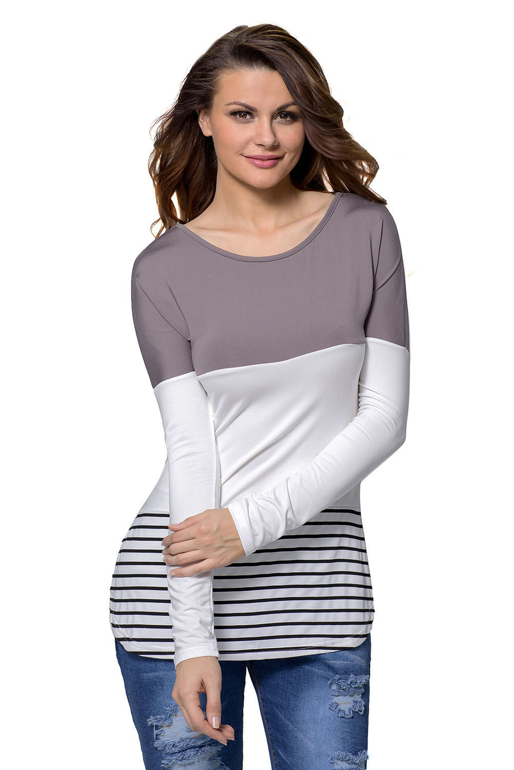 Taupe White Color Block Striped Long Sleeve Blouse Top