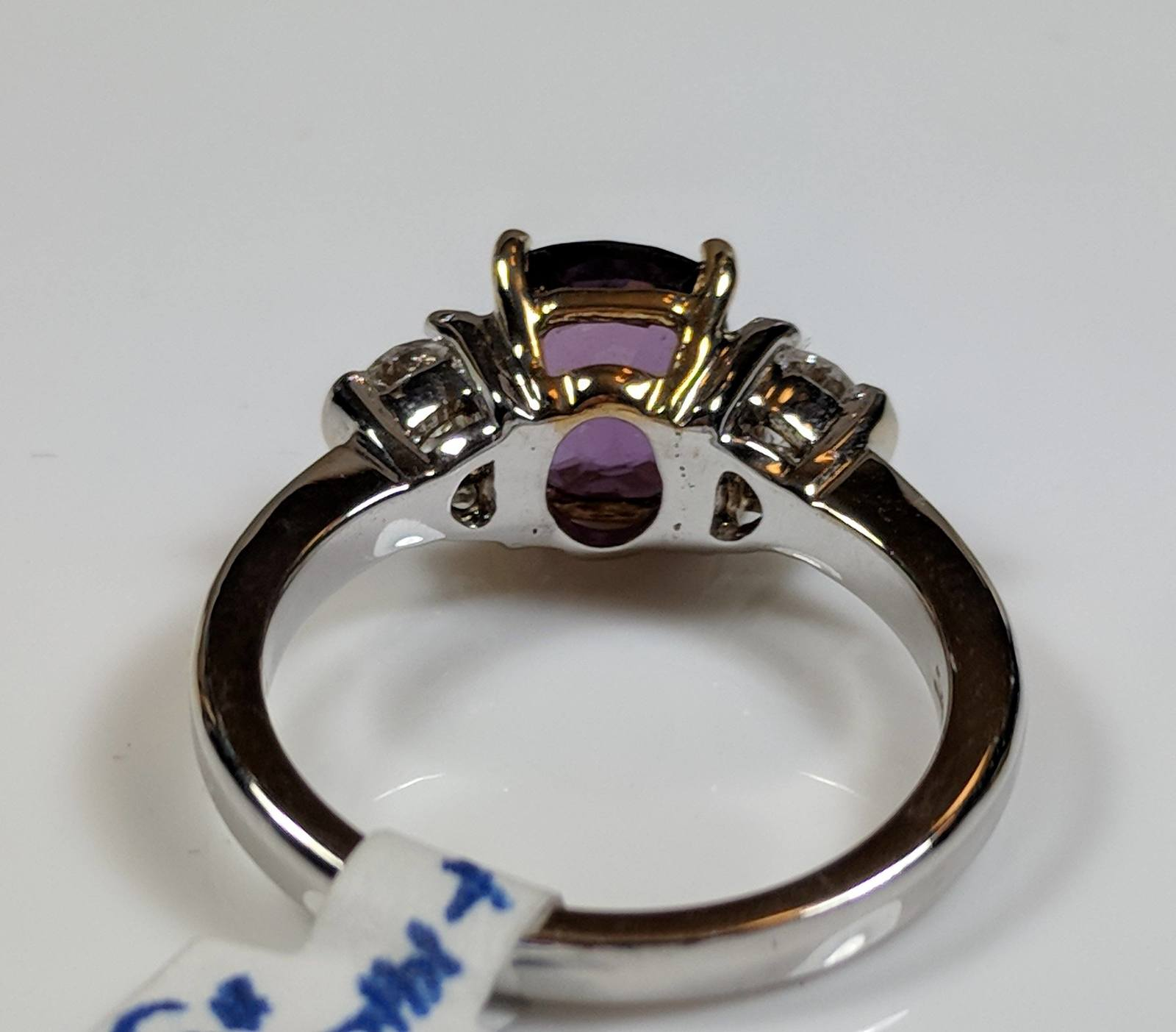 Purple Cushion Cut Unheated Sapphire and Diamond Ring in 14K White Gold