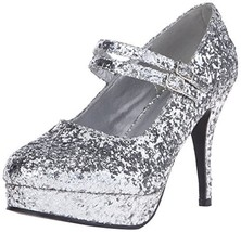 Ellie Shoes Women's 421-Jane-G Maryjane Pump,Silver Glitter,5 M US - $48.71