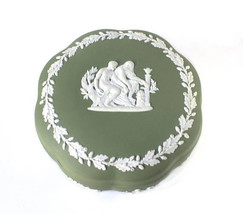 "Wedgwood Sage Green Jasperware Apollo TRINKET Box Sacrifice to Asclepius  5"" - $59.39"