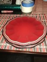 2 Roscher & Co Salad Plates Hobnail Burgundy Red Stoneware Scalloped Des... - $24.74