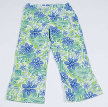 MY MICHELLE GIRLS 7 BLUE & GREEN TROPICAL FLORAL FLOWER CAPRI PANTS  - $9.89