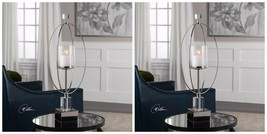 "Two Designer Modern Xxl 27"" Tamra Candle Holder Crystal Metal & Seeded Glass - $391.60"