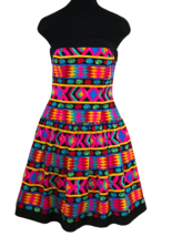 80s Vtg A.J. Bari 100% Silk Boned Corset Strapless Aztec Geometric Print... - $85.00