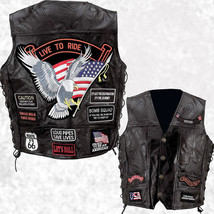 Mens Black Leather Motorcycle Vest Waistcoat with 14 Biker-Style Patches... - $24.99+