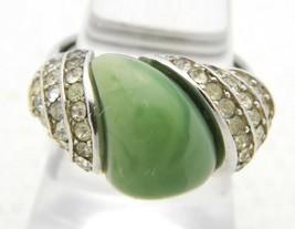 VTG CROWN TRIFARI Silver Tone Art Deco Style Rhinestone Faux Green Jade ... - $74.25