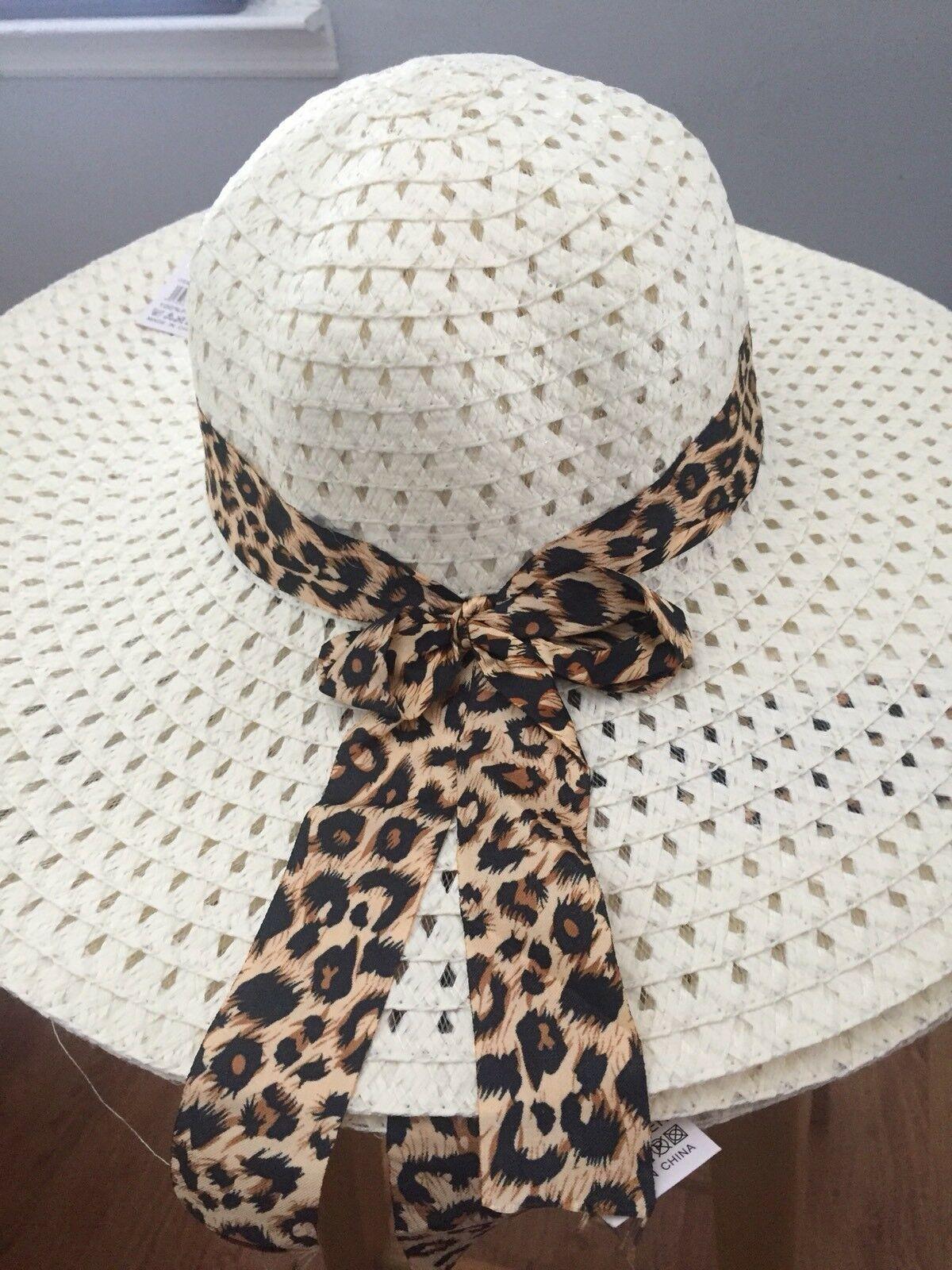 ( WHITE) Sun-Floppy-Hat--Beach-Summer-Wide-Brim-With-Animal-Print-Ribbon