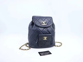 100% AUTHENTIC CHANEL VINTAGE  BLACK QUILTED LAMBSKIN BACKPACK GHW image 2