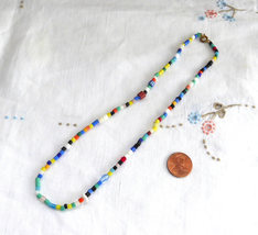 Vintage Czech Bohemian Glass Bead Necklace 1930s 17 Inches Necklace - $18.00