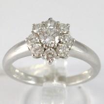 White Gold Ring 750 18K, Flower Rosette with Diamonds Carat Total 0.77 image 1