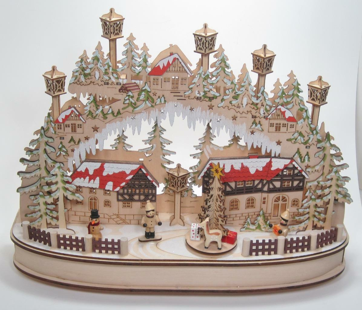 "Primary image for 16.5"" Musical LED Village Kurt Adler Christmas Holiday Winter Tabletop Decor"