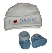 "Preemie & Newborn  ""I love Daddy"" Hat and Booties Set - $18.00"
