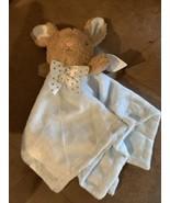 Dan Dee Bunny Rabbit Security Baby Blanket Rattle Blue Plush Dot Bow Sof... - $16.48