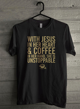 With Jesus In Her Heart And Coffee In Her Hand Men's T-Shirt - Custom (3848) - $19.12+