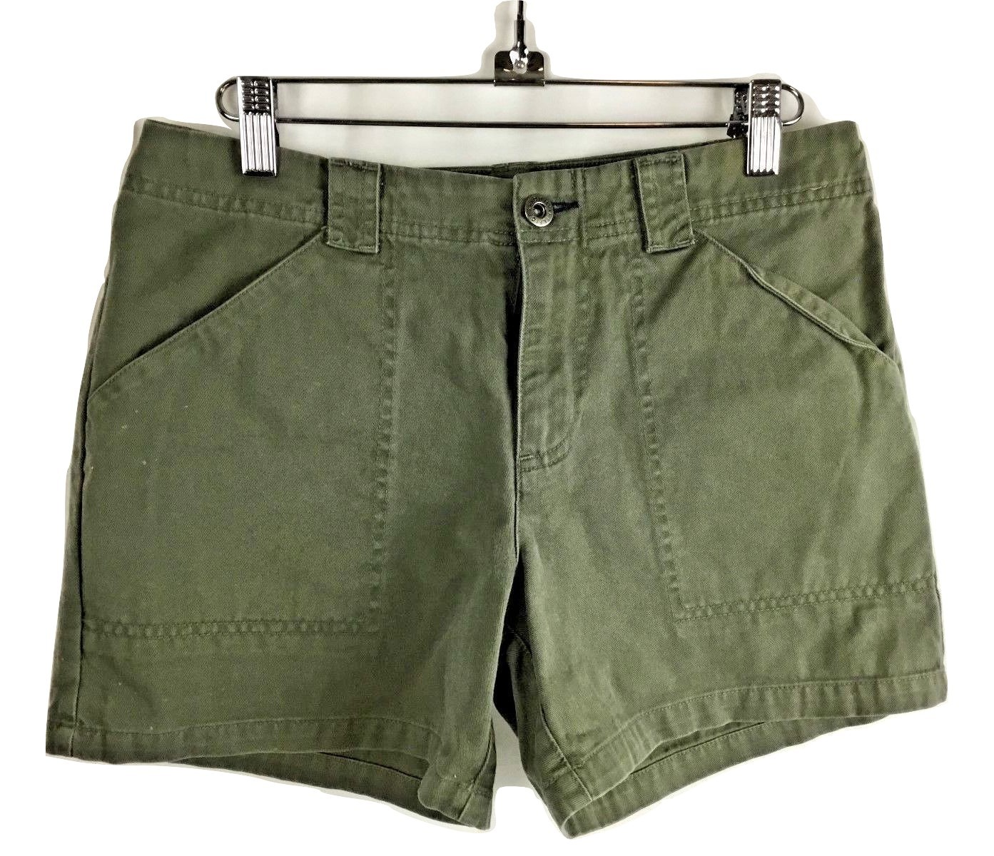 TOMMY HILFIGER Jeans Women Chino Olive Moss Green Camo 4 Pocket Shorts Size 2 - $39.95