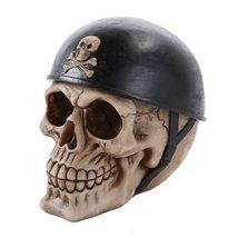 Motorcycle Biker with Skull and Crossbones Helmet Collectible Skull Halloween De - $16.82