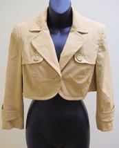 Ann Taylor Loft 6 Cropped Fashion Jacket Khaki Beige Button Flaps - $19.58