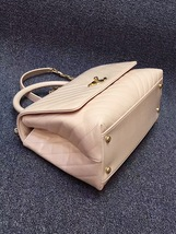 100% AUTHENTIC CHANEL 2017 CHEVRON QUILTED CALFSKIN COCO HANDLE BAG BEIGE GHW image 7