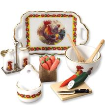Dollhouse Rooster Kitchen Set 1.499/8 Reutter Cruets Miniature  - $33.50