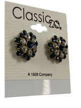 """Earrings 1928 New Gold Tone Faux Diamond Sapphire Round Floral Post 3/4"""" - $16.79"""