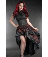 Red Black Brocade Ruffle Trim Corset Back Long 3 Layer Victorian Goth Skirt - $65.51
