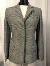 Anne Klein II Womens Blazer Gray White Plaid Hidden Button Lined Size 4 ... - $128.69