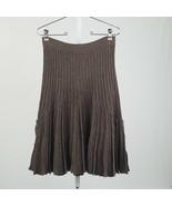 Women's Brown Magaschoni Pleated Midi Skirt 100% Wool sz 26 - $47.41