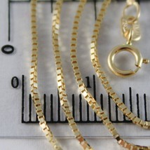 18K YELLOW GOLD CHAIN 1 MM VENETIAN SQUARE LINK 15.75 INCHES, MADE IN ITALY image 2
