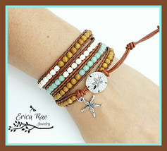 Aquamarine gemstone leather wrap beach bracelet starfish charm - $45.00