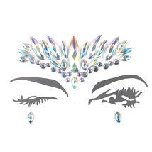 Temporary Tattoo Face Gems Jewels Rhinestone Festival Body Glitter Stickers Rock - $4.30