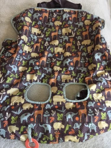 Primary image for Infantino Boys Brown Blue Elephants Yellow Hippo Giraffe Shopping Cart Cover