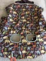 Infantino Boys Brown Blue Elephants Yellow Hippo Giraffe Shopping Cart C... - $16.93