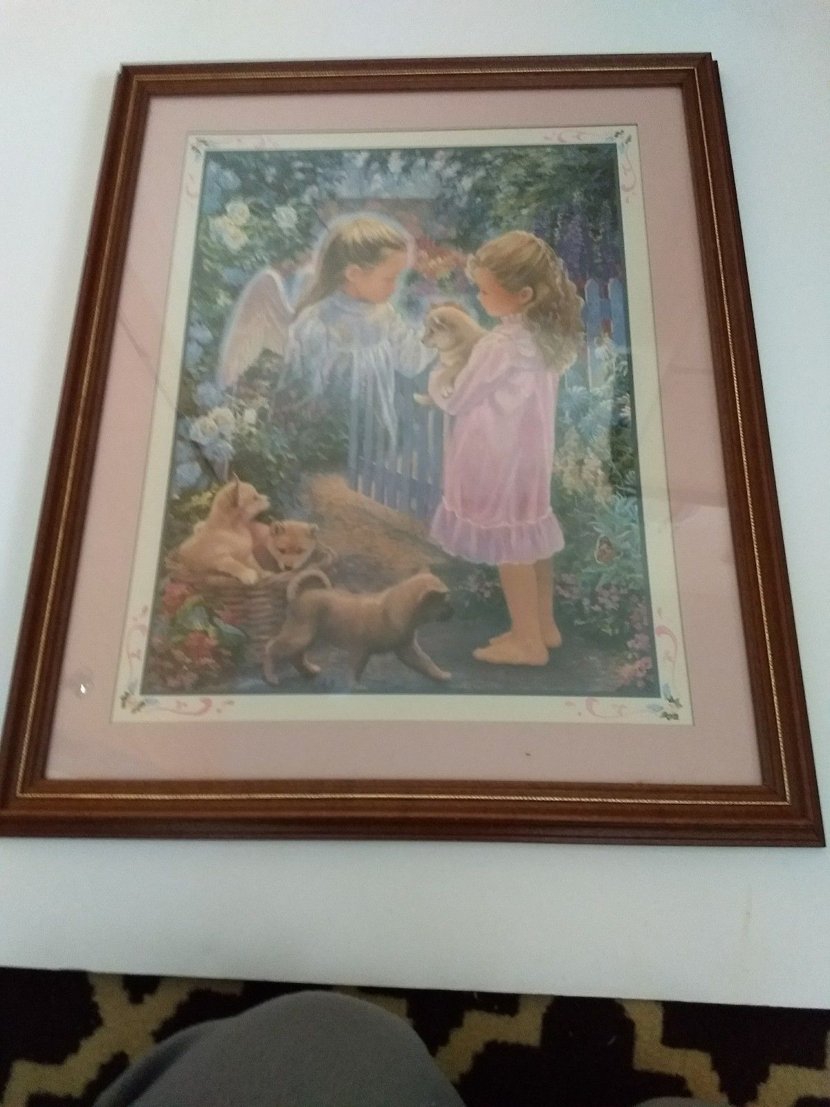 Home Interiors Holding Puppy Angel Puppies 22x19 Mint Vtg Discontinued