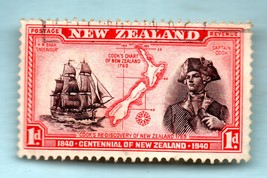 1940 New Zealand Used Postage Stamp - Captain Cook  (Scott # 230) - $3.99