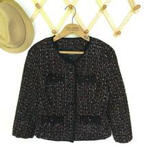 Talbots Black Boucle Blazer Size 4 Ribbon Trim Woven Metallic Career Jacket - $31.99