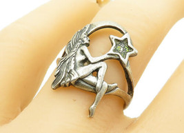 925 Sterling Silver - Vintage Fairy Woman Star Designed Band Ring Sz 8 -... - $27.20