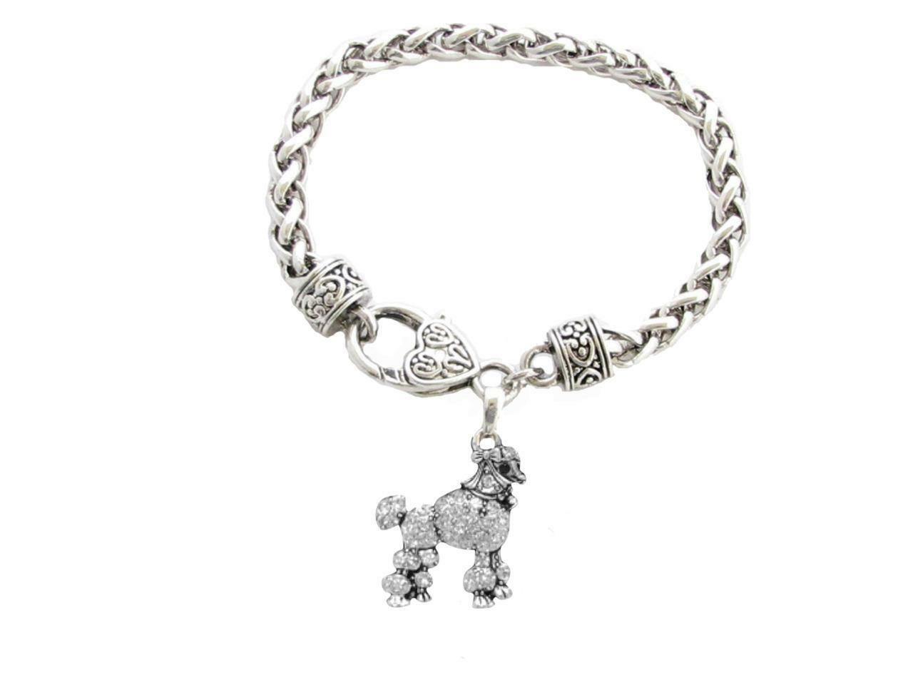 Primary image for Poodle Dog Breed Silver Clear Crystal Charm Bracelet Jewelry Gift Toy