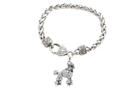 Poodle Dog Breed Silver Clear Crystal Charm Bracelet Jewelry Gift Toy - $12.65