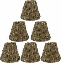 Urbanest Set of 6 Natural Seagrass Chandelier Lamp Shades, Clip-on, 2 7/8-inch b - $59.39