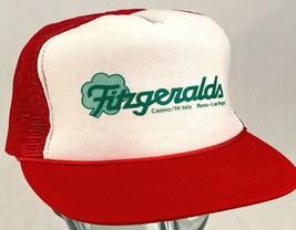 FITZGERALDS Casino Hotel Hat-Mesh Back-Red-Rope Bill-Snapback-Vtg - $16.82