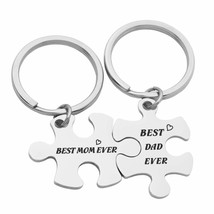 Kingmaruo Best Mom Ever & Best Dad Ever Matching Couple Puzzle Keychain ... - $26.99