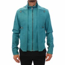 Men's New Super Fashion Buckskin Teal Blue Goat Leather Bomber Biker Jac... - $141.67