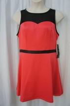 Kensie Dress Sz 14 Beach Coral Pink Black Sheer Neckline Cocktail Party Dress  - $61.64