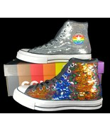Converse Chuck 70 Hi Rainbow Sequin Pride Sneakers 167755C 9 Men - $89.95